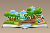 Pop Up Book with a Forest Theme — Stock Vector