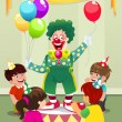 Clown carrying balloons to kids birthday party — Stock Vector