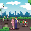 Stock Vector: People in city park doing everyday stuff