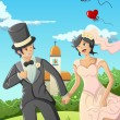 Happy wedding couple — Vector de stock