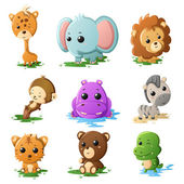 Cartoon wildlife animal icons — Stock Vector