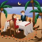 Couple having romantic candle light dinner — Stock Vector