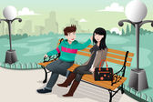 Romantic couple in a park — Stock Vector