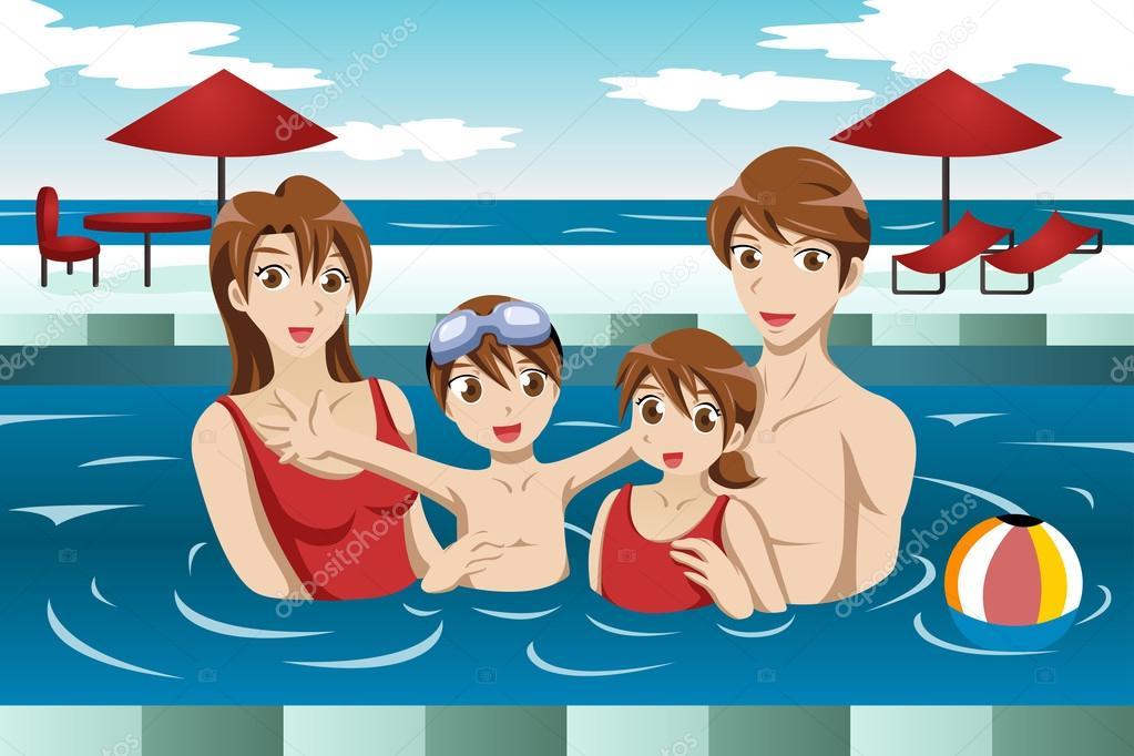 Familia en la piscina archivo im genes vectoriales 40365821 for Fondos de piscinas dibujos