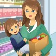 Vector de stock : Mother carrying her daughter and grocery bags