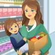 Mother carrying her daughter and grocery bags — стоковый вектор #40829701