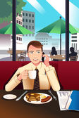Businessman on the phone while having breakfast in a cafe — Stock Vector