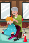 Kid getting a haircut — Stock Vector