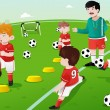 Kids in soccer practice — Stock Vector