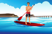 Man paddle boarding in the ocean — Stock Vector