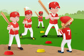 Kids in baseball practice — Stock Vector