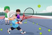 Enfants dans la pratique du tennis — Vecteur