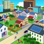 Green environment friendly city scene — Stock Vector