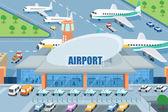 Luchthaven aan de buitenkant — Stockvector