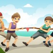 Kids in tug of war — Stock Vector