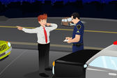 Police conducting a DUI test for a drunk driver — Stock Vector