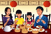 Chinese family eating dim sum — Stock Vector