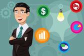 Businessman having an idea concept — Vecteur