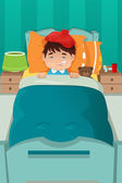 Sick kid resting — Stock Vector