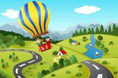 Kids riding hot air balloon — Stock Vector