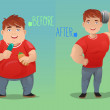 Before and after: weight loss — Stock Vector #42676401