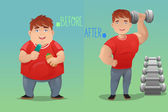 Before and after: weight loss — Stock Vector