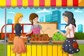 People shopping in farmers market — Stock Vector