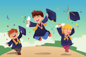 Students celebrating graduation — Stock vektor