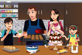 Family in the kitchen — Stock Vector