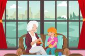 Grandma teaching her granddaughter knitting — Stock Vector