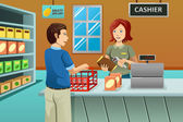 Cashier working in the grocery store — Stock Vector