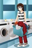 Junge frau, die wäsche — Stockvektor