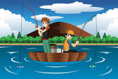 Kids fishing together — Stock Vector