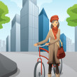 Woman with a bike in the city — Stock Vector