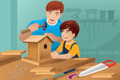 Father son making a birdhouse — Stock Vector