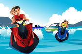 Young people riding jet ski  — Stock Vector