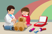 Kids playing doctor — Stock Vector