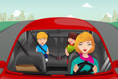 Mother driving with her children — Stock Vector