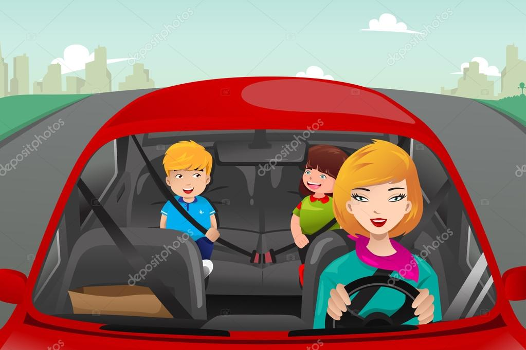 Ребенок в машине пристегнут рисунок