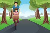 Dad daughter biking together — Stock Vector