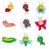 Cute cartoon insects and bugs — Stock Vector