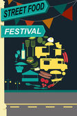 Street food festival pamphlet — Stock Vector