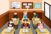 Kids in classroom — Stock Vector