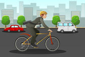 Businessman biking in the city — Stock Vector