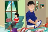 Husband washing dishes — Stock Vector