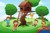 Kids playing around tree house — Stock Vector