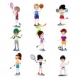 Kids exercising and playing different sports — Stock Vector