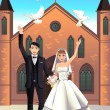 Wedding Couple releasing white doves — ストックベクタ
