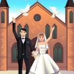 Wedding Couple releasing white doves — Vector de stock