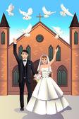 Wedding Couple releasing white doves — Stock Vector